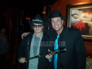 Johnny Depp and Jackamoe Buzzell at Vernon's Steakhouse