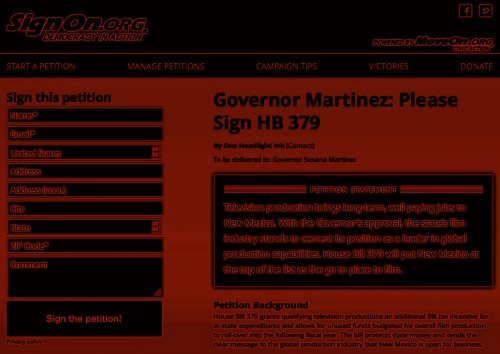 Online Petition calling on Governor Susana Martinez to sign HB 379 b