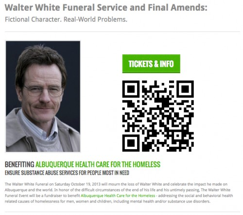 Walter White Funeral Link and QR Code