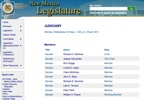 NM Senate Judiciary Committee Members Contact Info