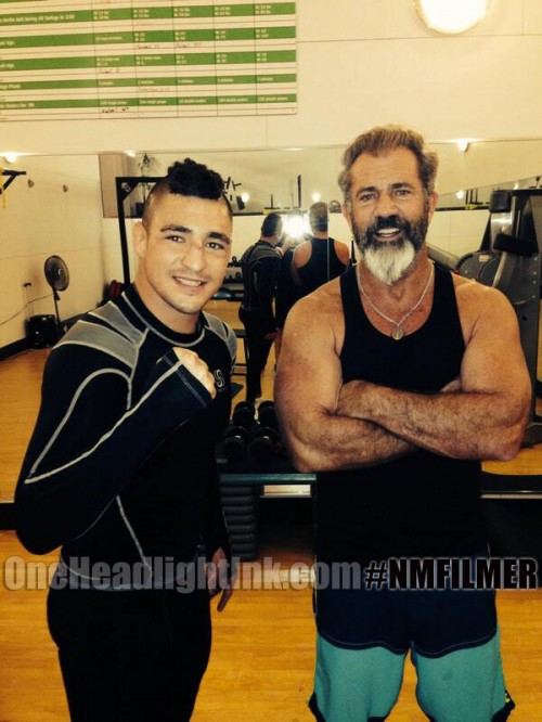 Mel Gibson with New Mexicos own Diego Sanchez UFC